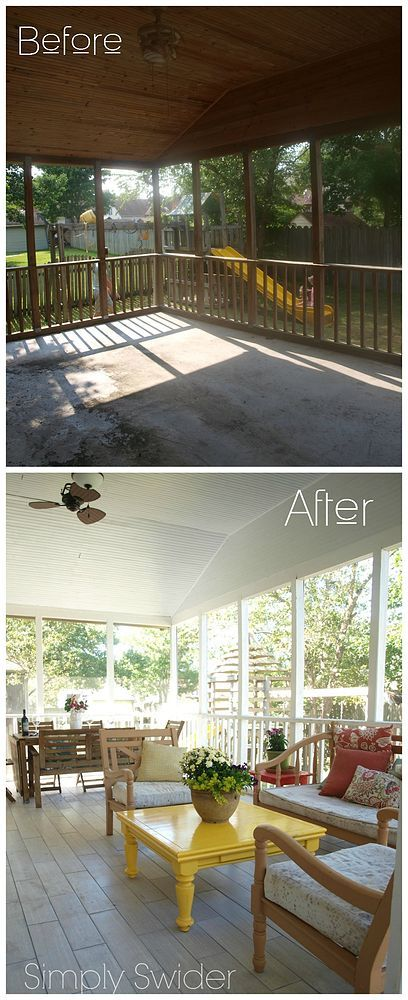 Screened Porch Bright Makeover                                                                                                                                                                                 More