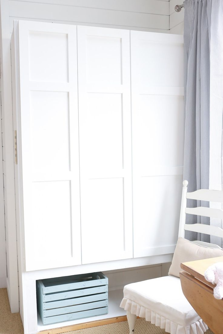 Turn a Basic Ikea Dombas Wardrobe into Custom Built-Ins| via This Mamas Dance The Dombas wardrobe is large- 55 1/8″ wide, over 70″ tall and 20″ deep. It is priced at just $129 CAD- but is very plane jane, so of course an IKEA wardrobe hack was in order. In our mudroom we built cabinets from scratch- doors and all, but this was a great time friendly solution and fit the size we needed.