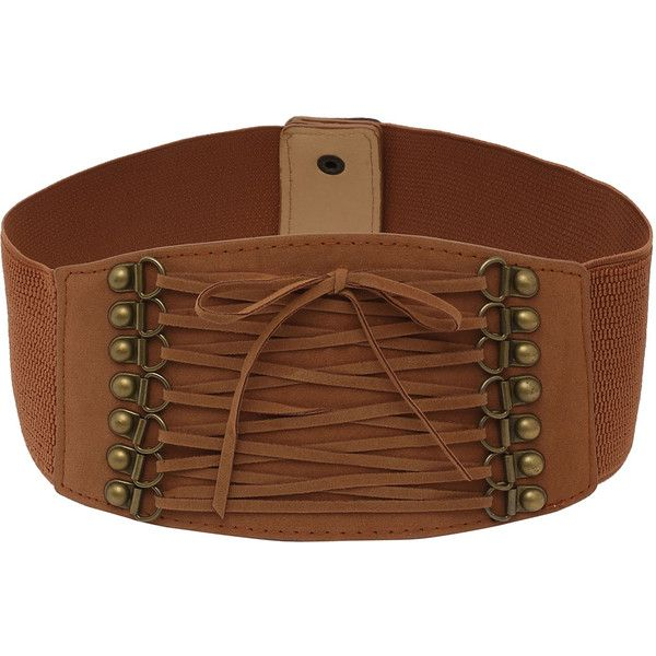 Lace-up Front Brown Wide Elastic Belt ($4.99) ❤ liked on Polyvore featuring accessories, belts, brown, lace up belt, elastic belt, wide stretch belt, brown stretch belt and stretchy belts