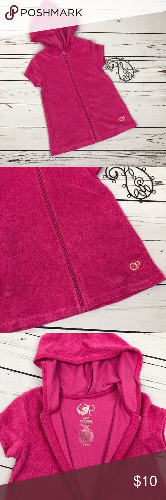 OP Girls Pink Towel Hoodie Swimsuit Cover Up Dress OP pink hooded towel dress. Size 24 Month. Love this for summer! VGUC OP Swim Coverups