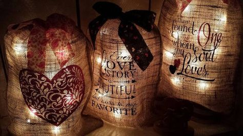 Burlap Print Burlap Bag with Lights Valentines by wreathartist