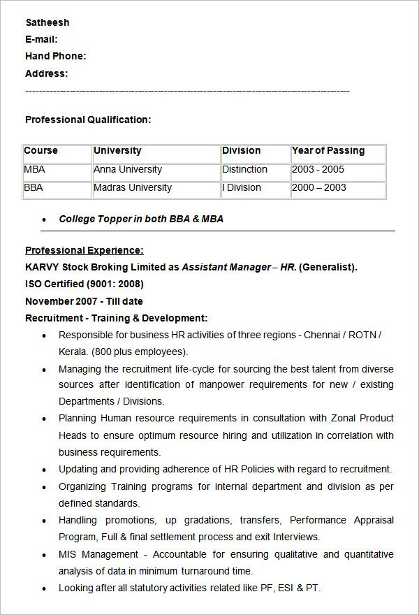 Free Resume Templates Human Resources Hr Resume Human Resources Resume Resume Examples