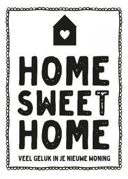 Zwart Wit kaarten - home sweet home kaart (Voorzijde)