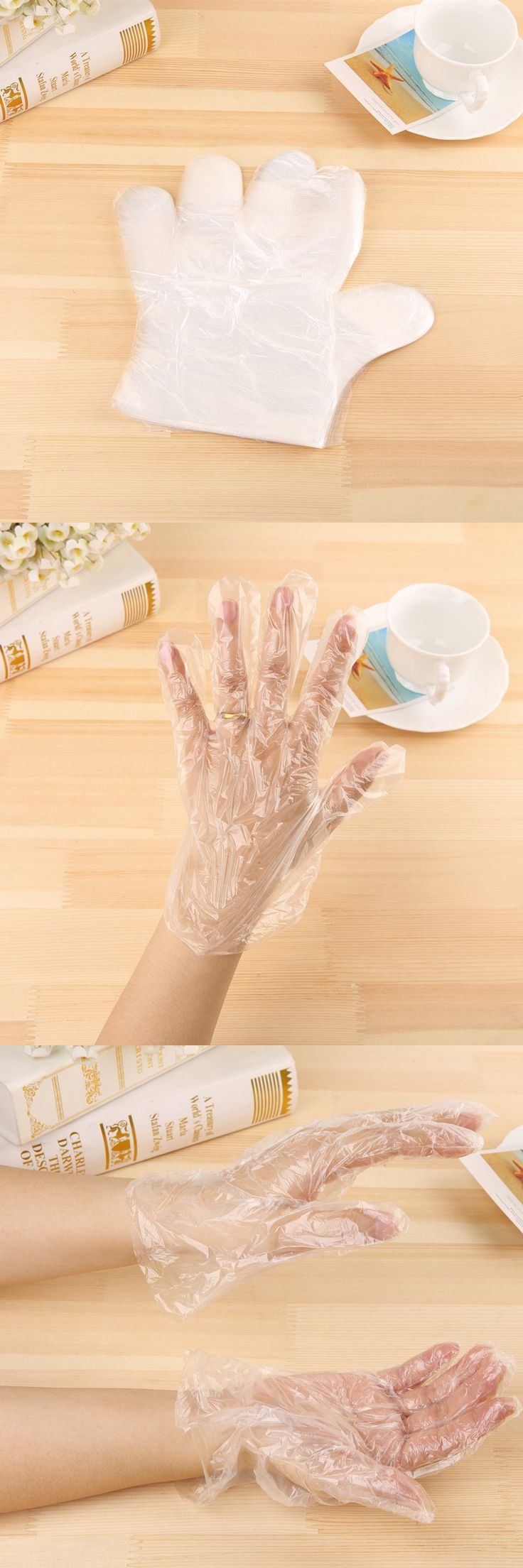 50PCS/LOT Eco-friendly Disposable Gloves PE Garden Household Restaurant BBQ Plastic Multifuctional Gloves Food