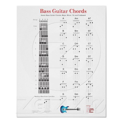 Bass Guitar Chords and Fretboard Notes Poster. includes the fingerings for the major bass guitar chords, major, minor and seventh fingerings. includes a fret board with the major notes marked. Perfect poster for the beginning student to show them the fingerings for each chord and how to play them. The fret board has been simplified down with just the main chords. Includes a chord box description. $12.75