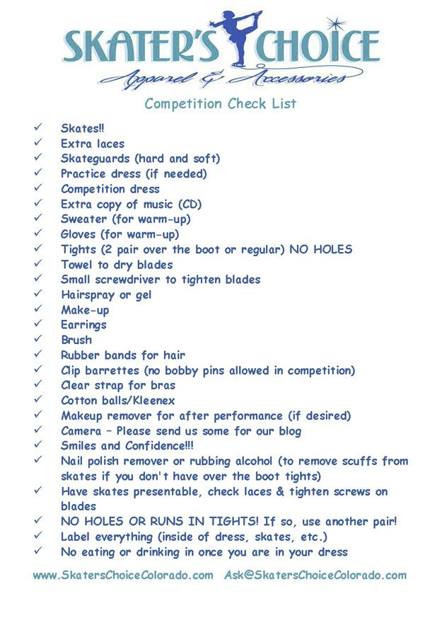 Skater's Choice Competition CheckList : Figure Skating Dresses, Ice Skating Dress, Figure Skating Accessories, Figure Skating Gifts, Buy Sell Ice Skating Co...