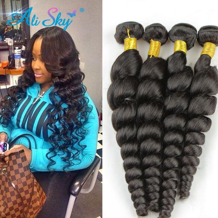 Ali sky Hair Peruvian Loose Wave 4 Pcs 7A Mink Peruvian Human Hair Weave Bundles Deals Peruvian Virgin Hair Loose Wave Curly