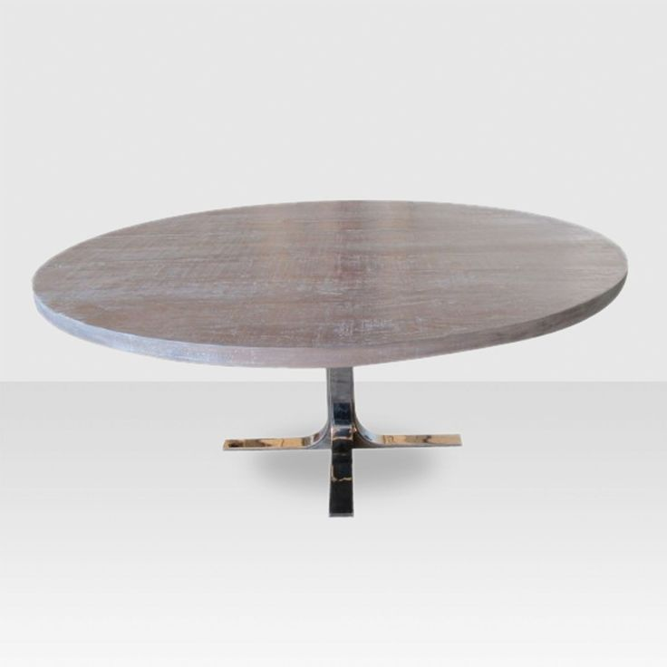 """Dresden Round 48"""" Dining Table - Distressed Grey - ELTE"""