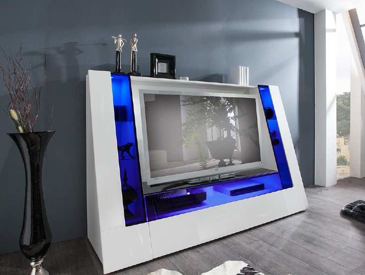 median tv unit in high gloss white with multi led