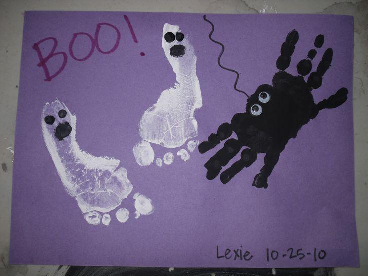 Footprint and hand print art: Prints Art, Crafts For Kids, Hands Prints, Handprint, Holidays Crafts, Halloween Crafts, Kids Crafts, Hand Prints, Footprint Ghosts