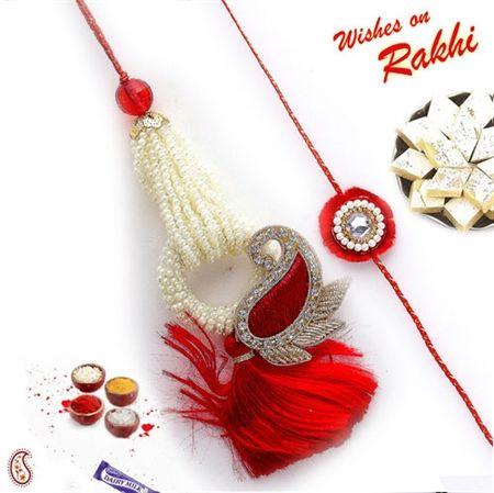 Picture of Red Velvet Tassel and Pearl Beads Keri Bhaiya Bhabhi Rakhi Set