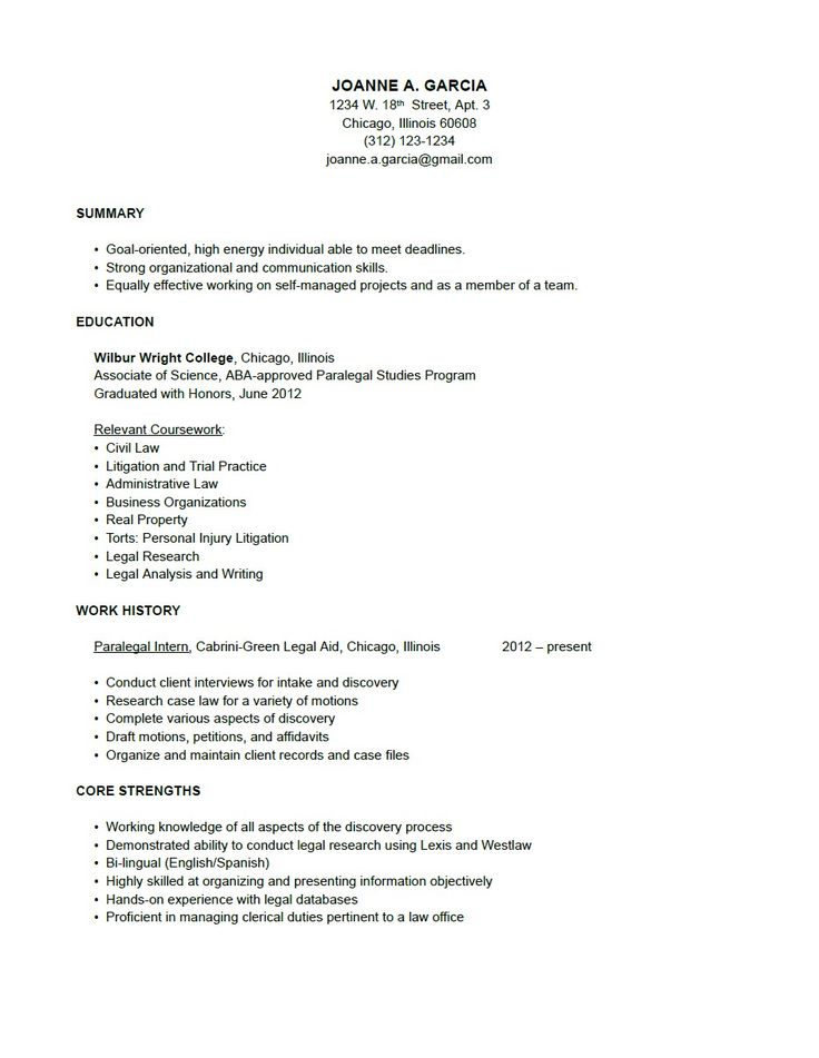 Paralegal Resume - Sample Resume