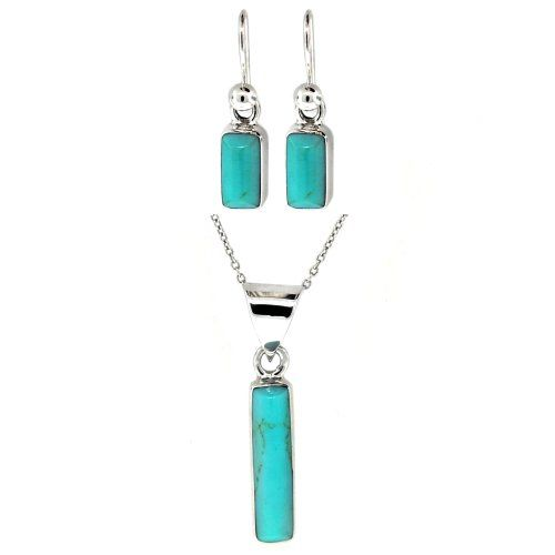 """Sterling Silver Turquoise Inlay Rectangle Drop Earrings and Matching Pendant Necklace Set, 16"""" Amazon Curated Collection,http://www.amazon.com/dp/B0024FAWU2/ref=cm_sw_r_pi_dp_iIUDsb19866PX7F9"""