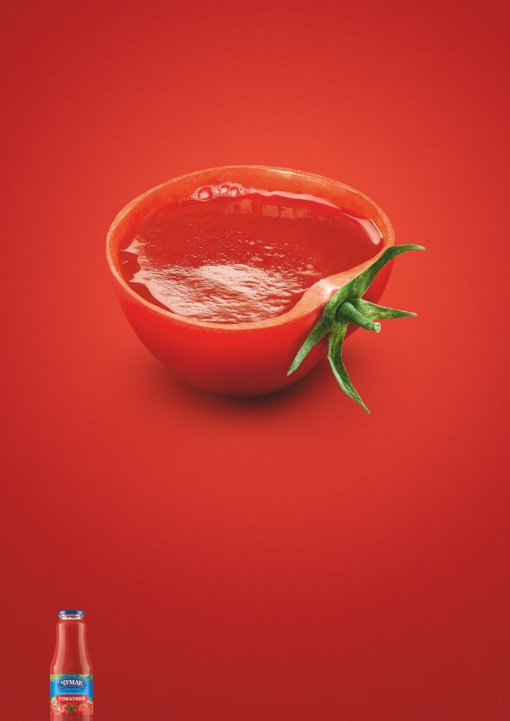 I love all tomato source ads, as they are simple yet very effective, this one shows that the source in the bottle is basically the tomato from the inside of a tomato.
