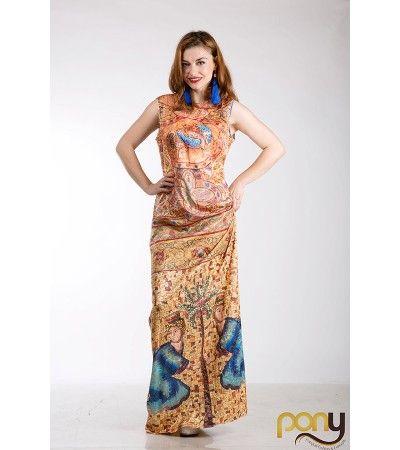Mosaic Orange Printed Dress www.theponytail.ro