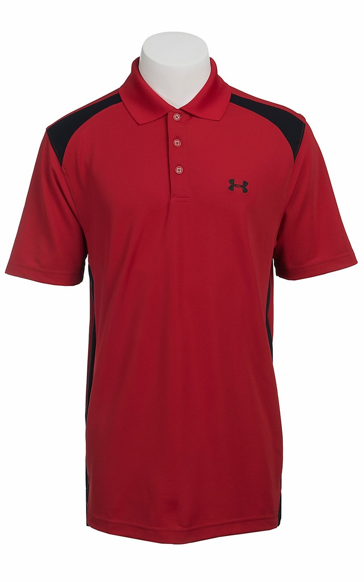 Under Armour Men's Red & Black UA Performance Colorblock Polo