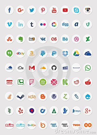 Also see sets 1 and 3 of my portfolio. (File ID: 57680036 and File ID: 59089659) A set of 35 popular social media icons in circular shapes for use in print and web projects. Icons include Pinterest, Youtube, Flickr, Google Plus, Twitter, Facebook and more.