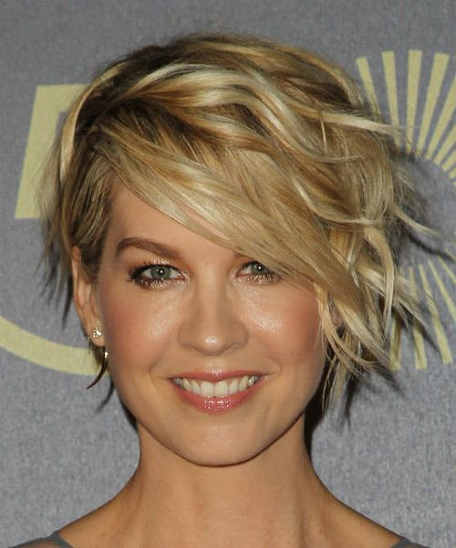 Jenna Elfman Short Wavy Formal Hairstyle - Dark Blonde (Golden) | TheHairStyler.com