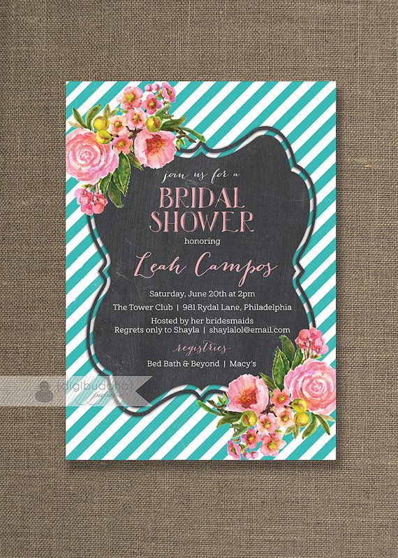 Pink & Teal Bridal Shower Invitation Turquoise Stripe Pink Flower Rose Floral Blush Pastel Chalk Modern Printable Digital or Printed - Leah style available on digibuddha.com