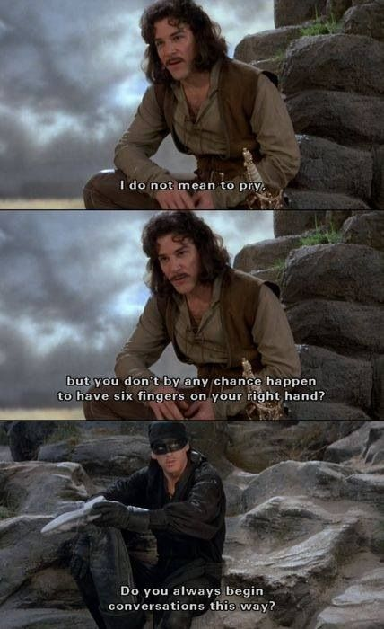 Cary Elwes (Dread Pirate Roberts) and Mandy Patinkin (Inigo Montoya) in the Princess Bride (1987).