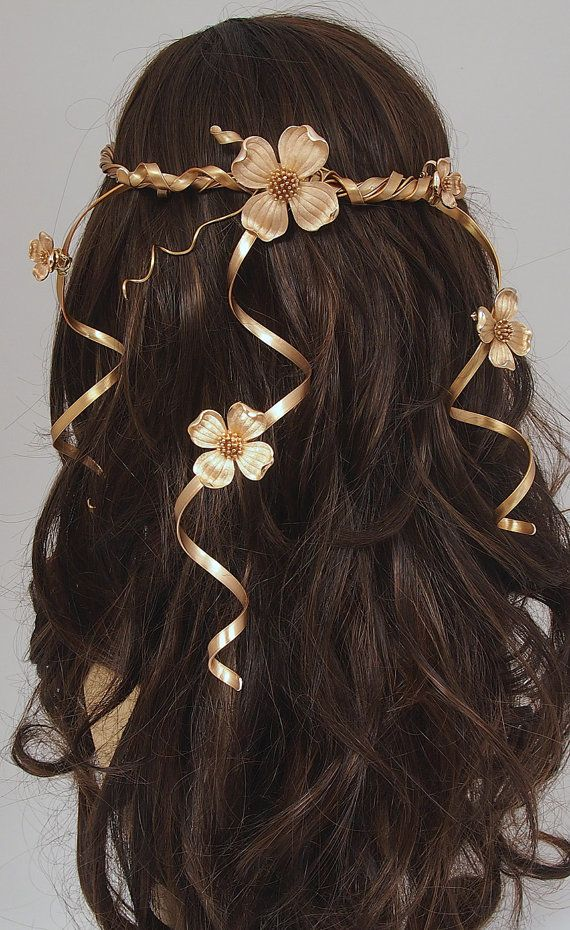 Wedding Headpiece - Hair Accessory - Gold Circlet Floral Crown - Cascading Flower Vines - Vintage Flowers