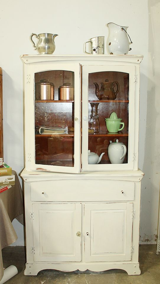 AnnieSloan ChalkPaint Distressed Kitchen Hutch Diy Repurpose Upcycle