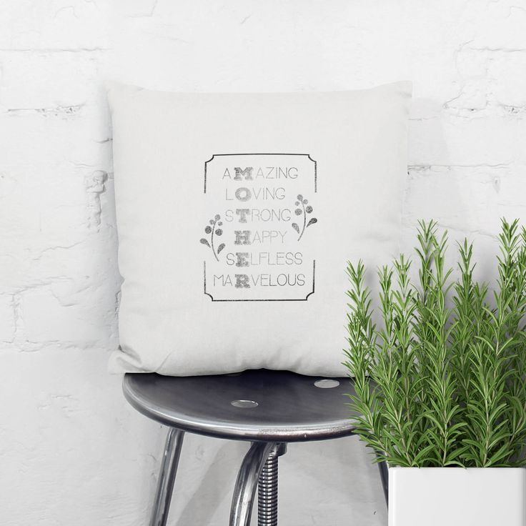 Handprinted Quote pillow with a message that shows your love and apreciation for your mother. Original gift that can be personalized with names..., for Grand parents day, Mothers day, Birthdays, Christmas ... designed and hand printed by My Home and Yours. Worldwide shipping!