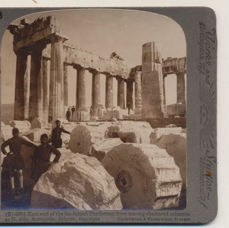 Shattered Columns East End Parthenon Athens Greece Underwood Stereoview 1907