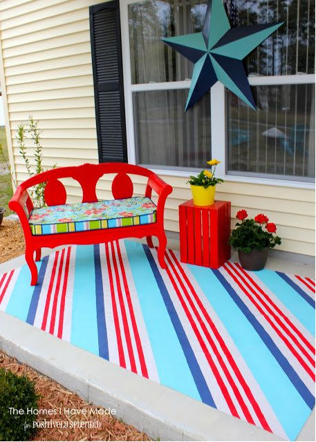 Paint a drop cloth as a cheerful outdoor rug to hide stained concrete or  ugly patio surfaces. - Best 25+ Cheap Outdoor Rugs Ideas On Pinterest Area Rugs For