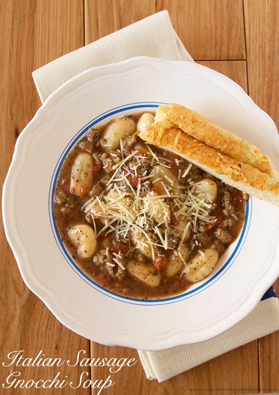 Italian Sausage Gnocchi Soup is quick and easy AND the perfect way to stay cozy-warm this winter! by www.whatscookingwithruthie.com #recipes #soup