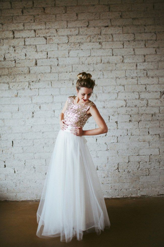 Sequin Glitter Wedding Dresses with rose gold, blush sequin bodice and long white tulle skirt.
