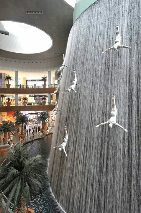 Freedom Divers fountain at Dubai Mall, Dubai, UAE. Such a cool piece of art which looks amazing in reality. Photographs do not do it justice!