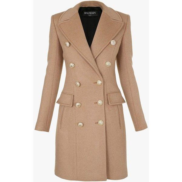 Double-breasted wool and cashmere coat | Women's coats | Balmain (24.030 HRK) ❤ liked on Polyvore featuring outerwear, coats, wool cashmere coat, cashmere coat, balmain, double breasted woolen coat and woolen coat