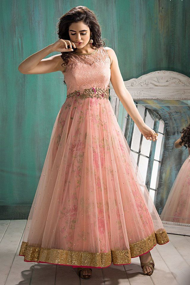 Grab amazing Ready to ship products from Aishwarya Design Studio Website! Buy Anarkali Suit online - http://www.aishwaryadesignstudio.com/adorable-peach-color-anarkali-suit