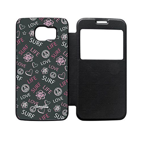 Love Life Surf Pink Black Flip Case for Galaxy S6 by Gadget Glamour  FREE Crystal Clear Screen Protector *** Check this awesome product by going to the link at the image. (Note:Amazon affiliate link)