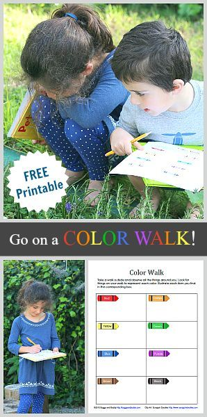 Free Printable Color Walk Scavenger Hunt for Kids: A fun activity to do on a outdoor walk or inside on a rainy day! ~ BuggyandBuddy.com