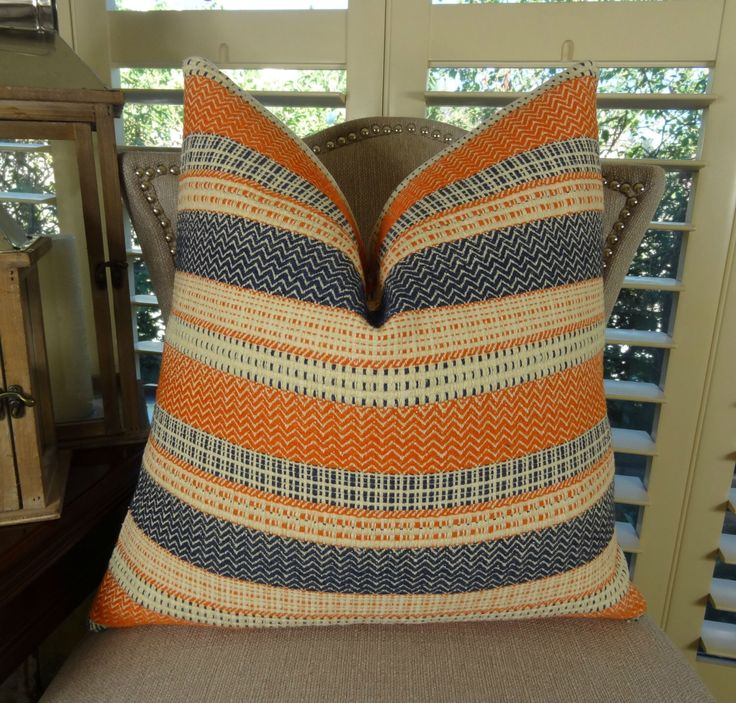 Decorative Stripe Throw Pillow Cover   Navy Orange Cream Stripe Pillow    Zig Zag Chevron Pillow