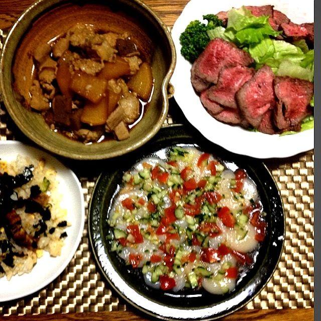 甥の二十歳の誕生日祝い&姪の入学祝いの夕食。 - 60件のもぐもぐ - モツ味噌煮・ローストビーフ・ホタテのカルパッチョ・うなぎのお寿司 by madammay