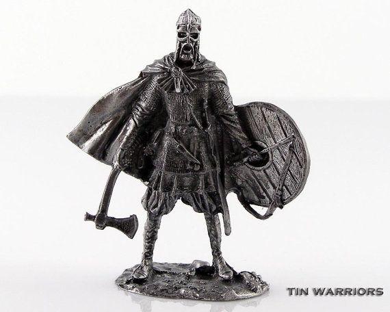 Spielzeugsoldaten Viking 10 Jahrhundert Metall-Skulptur. Sammlung 54mm 1:32 Miniatur Figur. Blechspielzeug Soldaten Shop