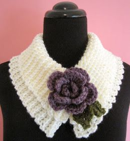 Today I have the pattern for a Sweet and Simple Scarflette for you. It is trimmed with a pretty little rolled rose which begins with an Eye...