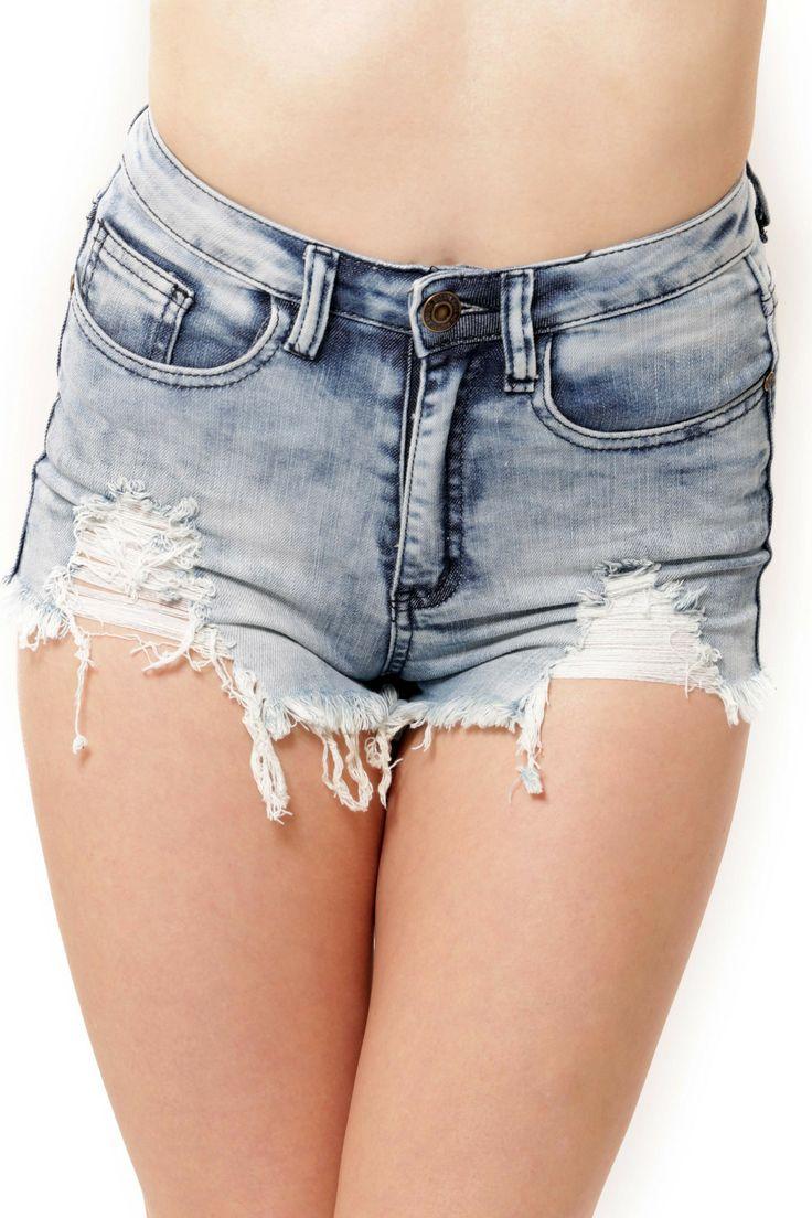 High Waist Potassium Acid Wash Shorts