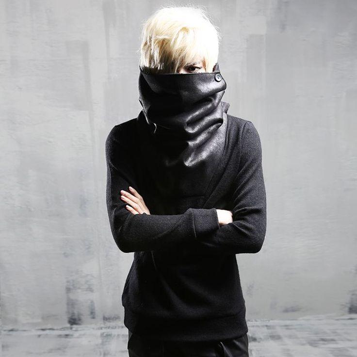 Cheap hoody men long, Buy Quality cool hoodies men directly from China hoodies men Suppliers: High neck cool hoodie men Long sleeve Black Rock punk style sweatshirts Autumn Winter #MensFashionRock
