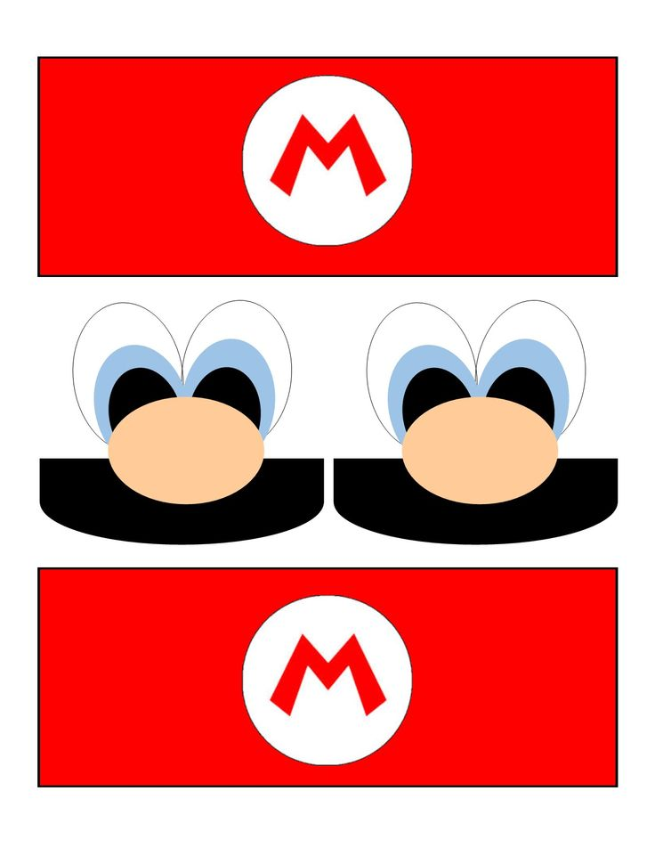 Print on paper or card stock, cut out, and glue onto brown paper sacks for a cute Mario themed treat bag!