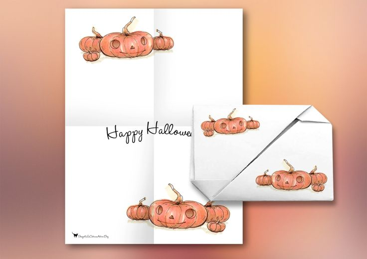 Halloween Pumpkins Printable Invitation Greetings All-In-One Envelope and Letter, Foldable Origami Card, Instant Digital Download Stationery
