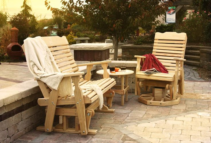 Amish Pine Wood Curve Back Outdoor Glider Bench In 2019