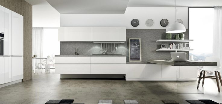 Cucina Moderna - Wega    Finitura laminato bianco e laccato bianco lucido | Piano in laminato  http://www.arredo3.it/cucine-moderne/cucina-moderna-wega/