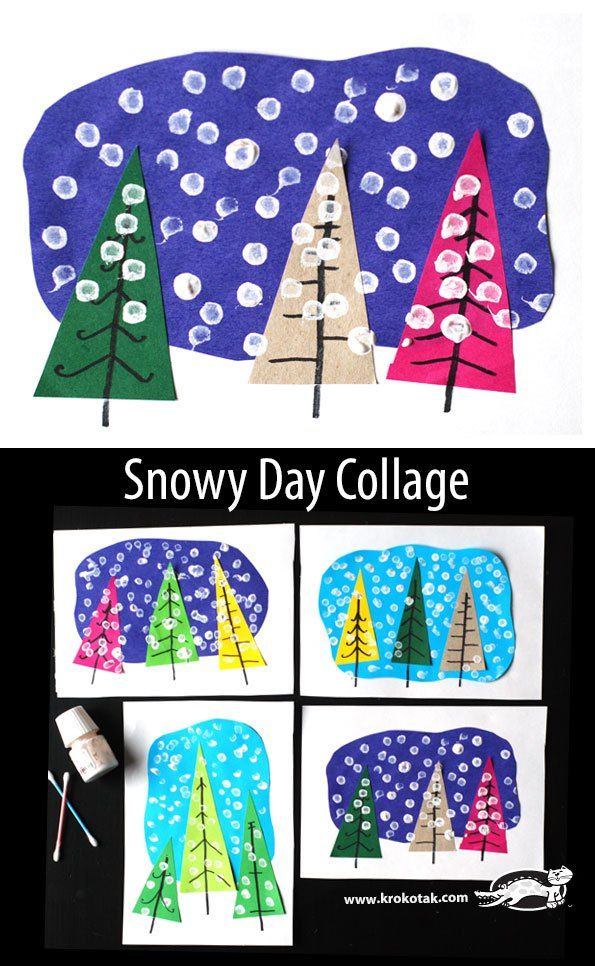 winter art for kids. trees and snow craft.