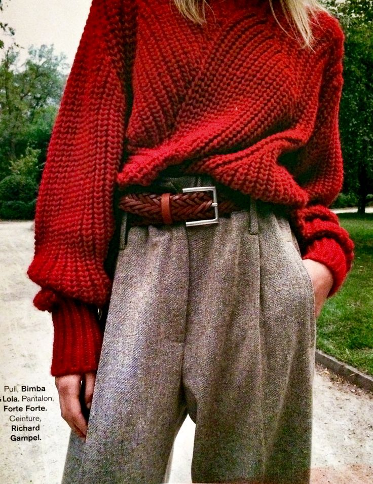 Chunky knit and menswear trousers for fall! Glamour France.