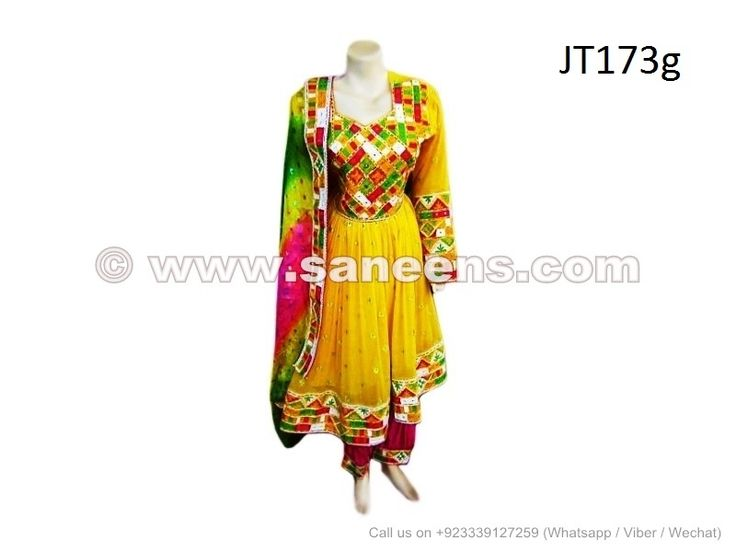 afghanistan ladies formal dress traditional pashtun bridal frock in yellow color