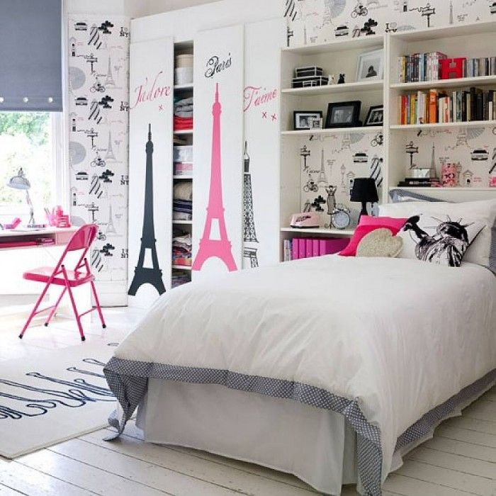 Bedrooms,Appealing Tween Girl Bedroom Decorating Ideas With Eiffel Tower Wall Sticker And Grey Window Screen Featuring Cozy Single Bed And Pink Study Desk Combine With Bookshelves Headboard And Pink Folding Chair,Lovely Chic Tween Girls Bedroom Design Ideas